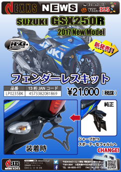 R&G RACING PRODUCTS SUZUKI GSX250R(17-) フェンダーレスキット