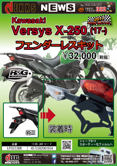 R&G RACING PRODUCTS Kawasaki Versys X-250 (17-) フェンダーレスキット